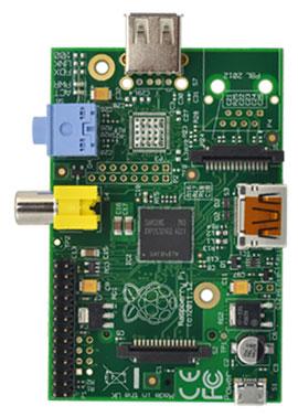 Raspberry Pi 1 model A - widok z góry