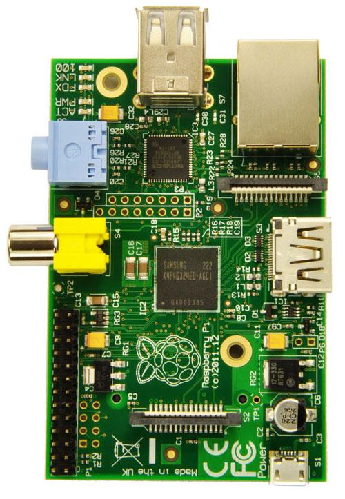 Raspberry Pi 1 model B - widok z góry